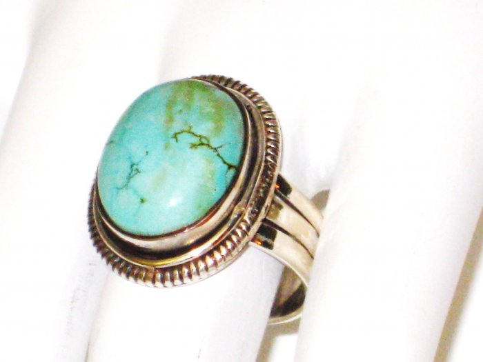 RG087       Turquoise Ring in Sterling Silver, Size 8