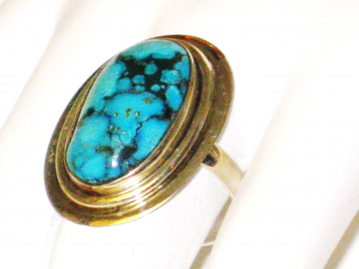 RG088       Turquoise Ring in Sterling Silver, Size 8