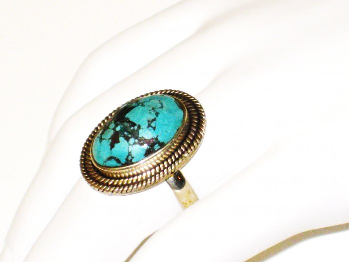 RG093       Turquoise Ring in Sterling Silver, Size 8