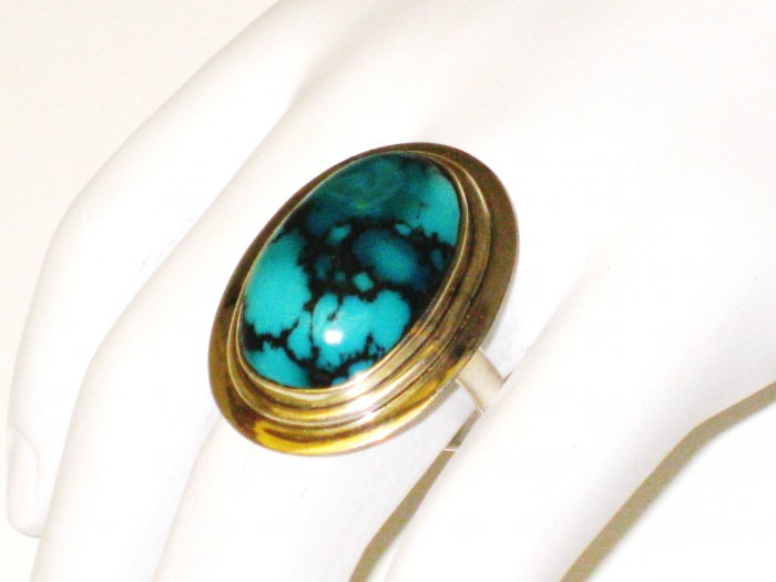 RG099       Turquoise Ring in Sterling Silver, Size 8