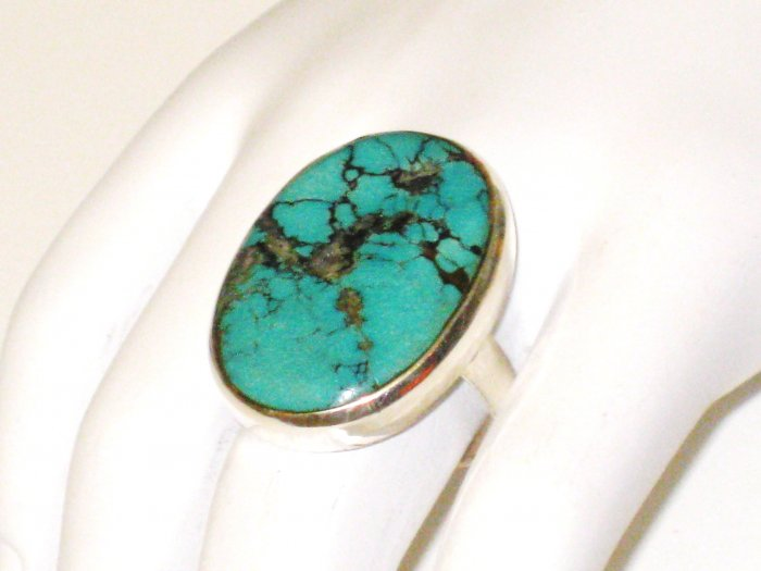 RG102       Turquoise Ring in Sterling Silver, Size 8