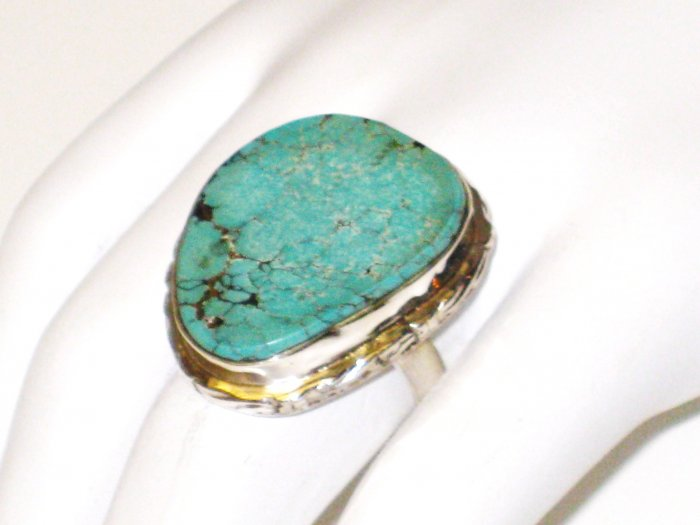 RG111       Turquoise Ring in Sterling Silver, Size 8