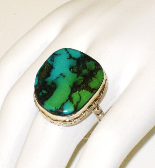 RG112       Turquoise Ring in Sterling Silver, Size 8