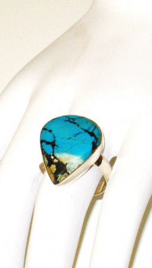 RG117       Turquoise Ring in Sterling Silver, Size 8