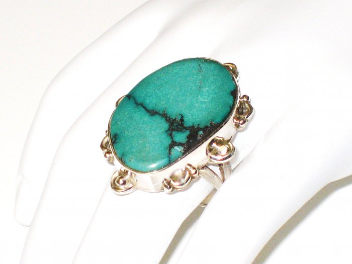 RG121       Turquoise Ring in Sterling Silver, Size 8