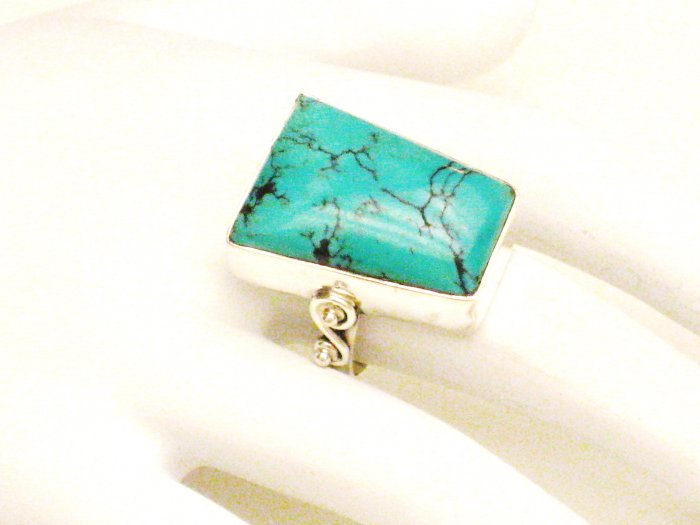 RG127       Turquoise Ring in Sterling Silver, Size 8