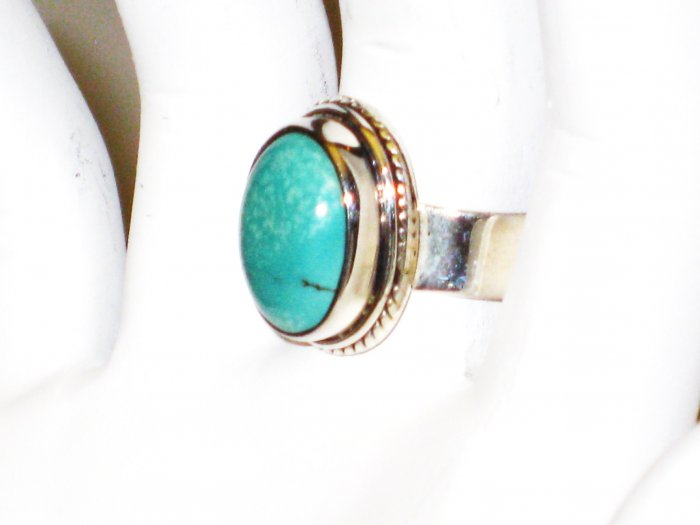 RG091       Turquoise Ring in Sterling Silver, Size 9