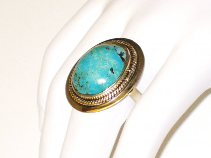 RG094       Turquoise Ring in Sterling Silver, Size 9