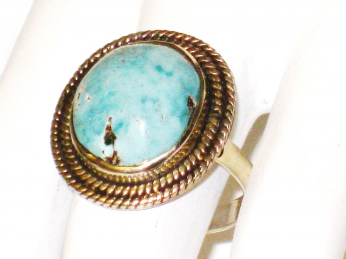 RG100       Turquoise Ring in Sterling Silver, Size 9