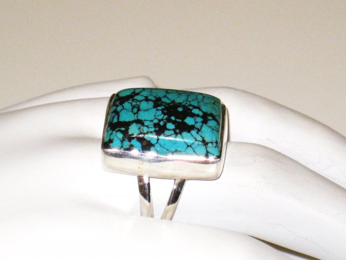 RG139       Turquoise Ring in Sterling Silver, Size 7