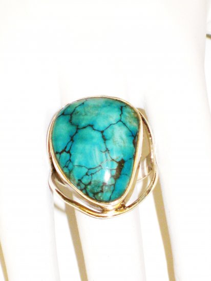 RG144       Turquoise Ring in Sterling Silver, Size 7