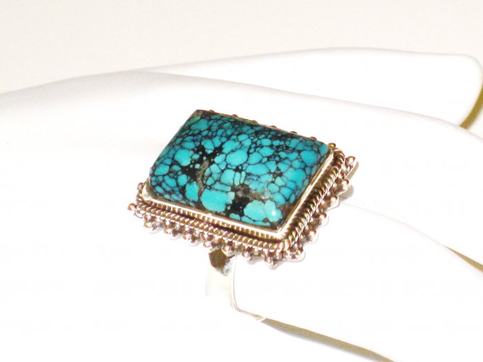 RG148       Turquoise Ring in Sterling Silver, Size 7