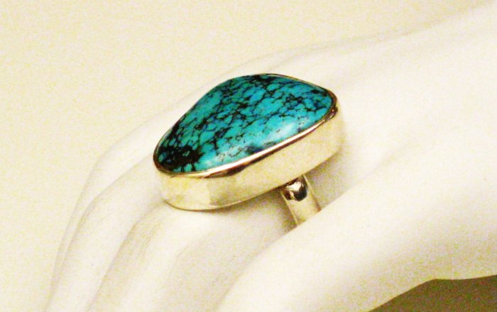 RG150       Turquoise Ring in Sterling Silver, Size 7