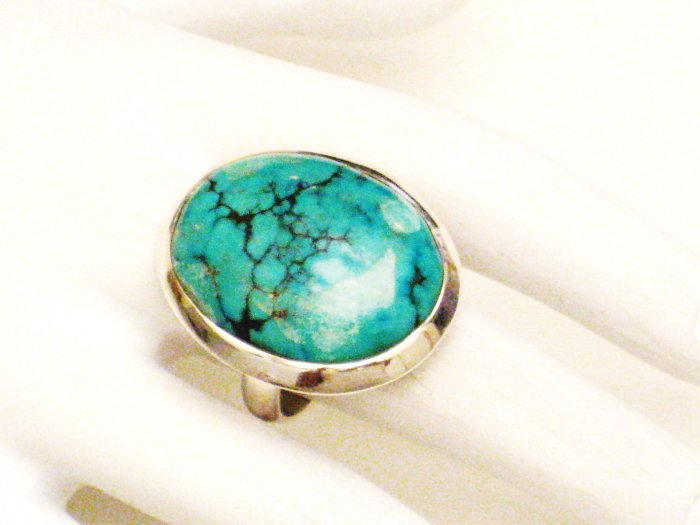 RG162       Turquoise Ring in Sterling Silver, Size 7