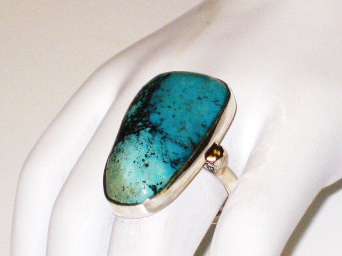 RG143       Turquoise Ring in Sterling Silver, Size 8