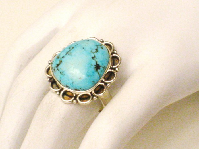 RG158       Turquoise Ring in Sterling Silver, Size 8