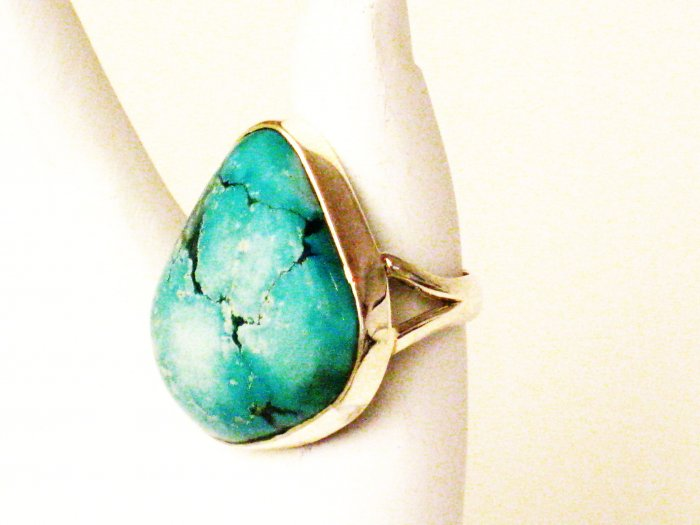 RG160       Turquoise Ring in Sterling Silver, Size 8