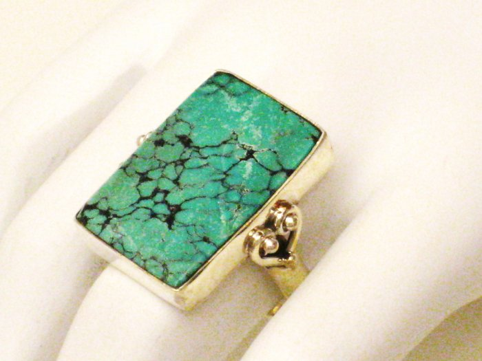 RG167       Turquoise Ring in Sterling Silver, Size 8