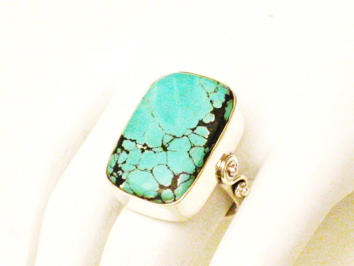 RG172       Turquoise Ring in Sterling Silver, Size 8
