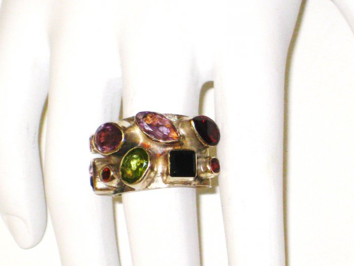 RG050       Mixed Stones  Ring in Sterling Silver, Size 6
