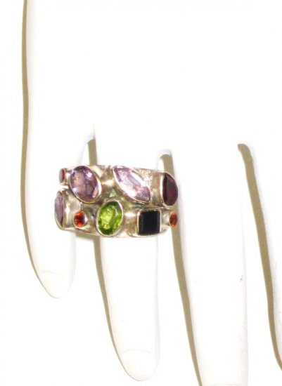 RG052       Mixed Stones  Ring in Sterling Silver, Size 6