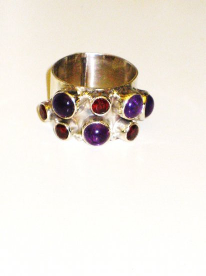 RG070       Mixed Stones  Ring in Sterling Silver, Size 8