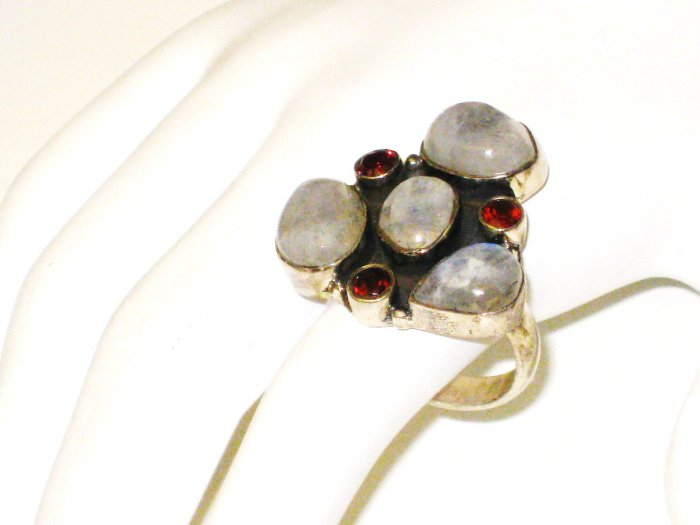 RG071       Mixed Stones  Ring in Sterling Silver, Size 8