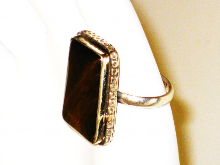 RG081       Agate Ring in Sterling Silver, Size 7