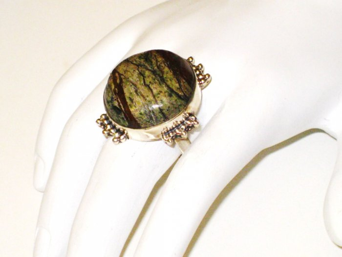 RG072       Agate Ring in Sterling Silver, Size 9