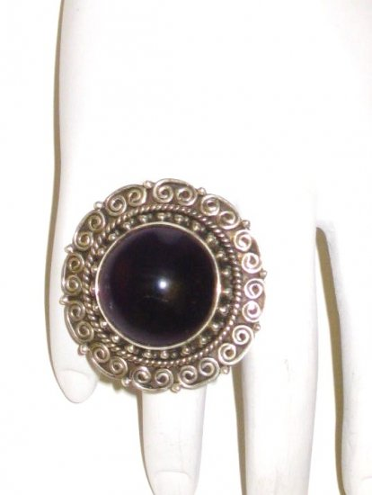 RG064       Garnet Ring in Sterling Silver, Size 6