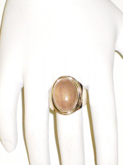 RG067       Rose Quartz Ring in Sterling Silver, Size 7