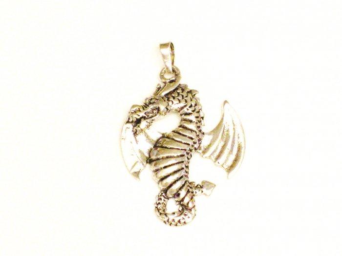 CP002       Ferocious Dragon Pendant in Sterling Silver