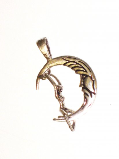 CP015       Lady Swinging on Moon Pendant in Sterling Silver