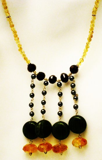 NK002       Citrine and Onyx Necklace in Sterling Silver