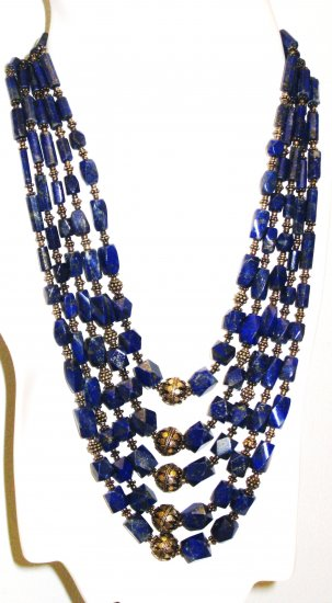 NK012       Multi-strand Lapis Lazuli Necklace in Sterling Silver