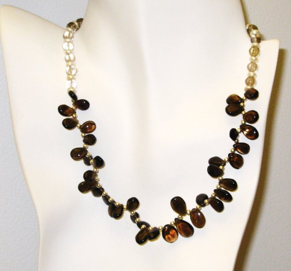 NK016       Citrine and Smoky Quartz Necklace in Sterling Silver