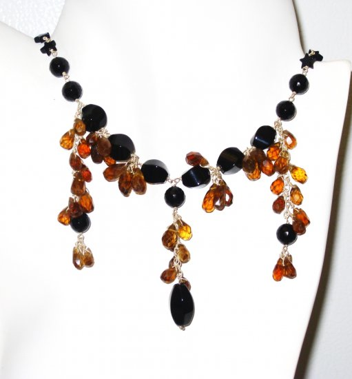 NK017       Onyx and Smoky Quartz Necklace in Sterling Silver