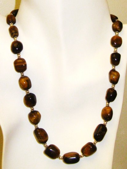 NK023       Tiger's Eye Necklace in Sterling Silver