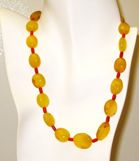 NK024       Citrine and Coral Necklace and Earrings in Sterling Silver