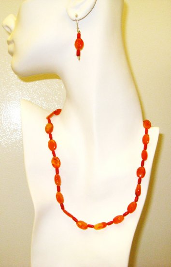 NK025       Citrine and Coral Necklace and Earrings in Sterling Silver