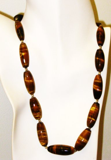 NK026       Tigers Eye Necklace in Sterling Silver