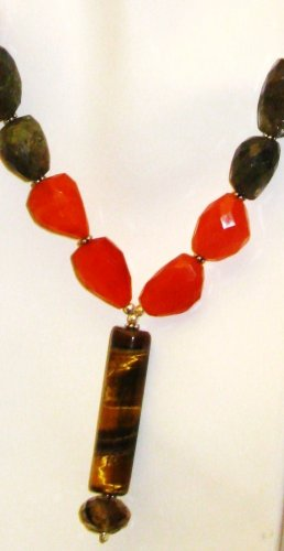 NK039       Labradorite, Carnelian Necklace with a Tiger's Eye Centerpiece.