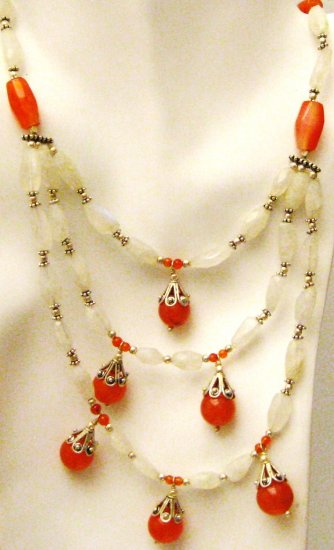 NK049       Moonstone and Carnelian Necklace with Sterling Silver Beads and Clasps.