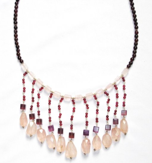 ST028       Rose Quartz and Garnet Necklace in Sterling Silver