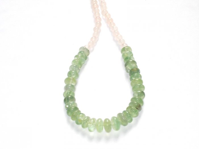 ST030       Jade and Rose Quartz Necklace in Sterling Silver