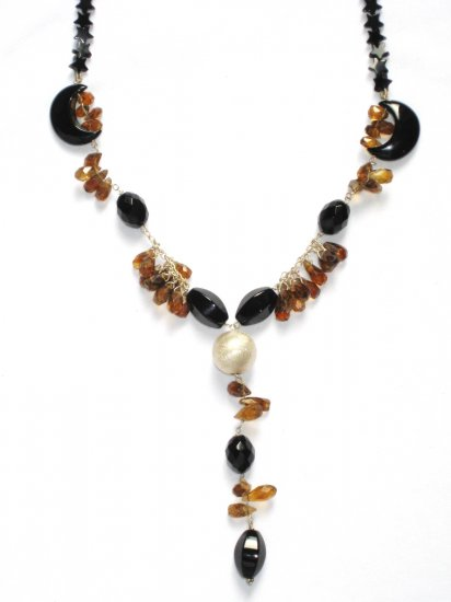 ST033       Smoky Quartz and Onyx Necklace in Sterling Silver