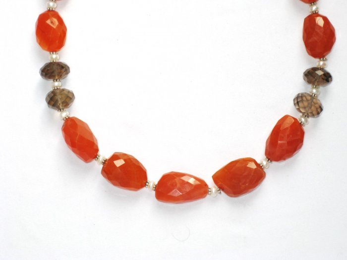 ST056       Carnelian and Smoky Quartz Necklace in Sterling Silver