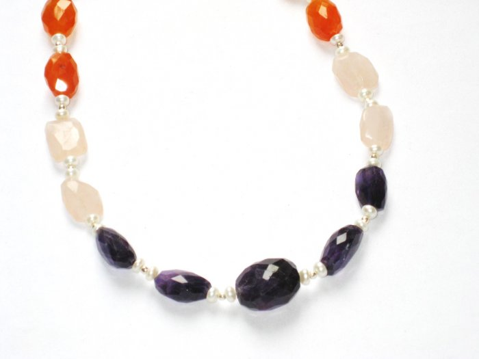 ST060       Rose Quartz, Onyx and Carnelian Necklace in Sterling Silver