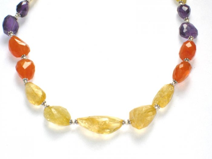 ST067       Citrine and Amethyst Necklace In Sterling Silver
