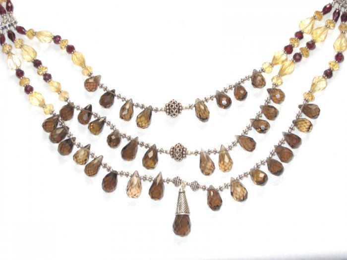 ST069       Smoky Quartz, Citrine and Garnet Necklace in Sterling Silver